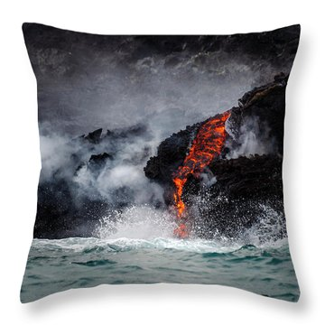 Lava Dripping Into The Ocean Throw Pillow