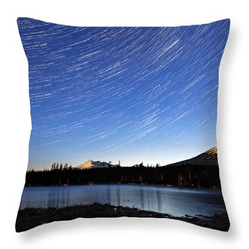 Throw Pillow featuring the photograph Lava Lake Star Trails by Cat Connor
