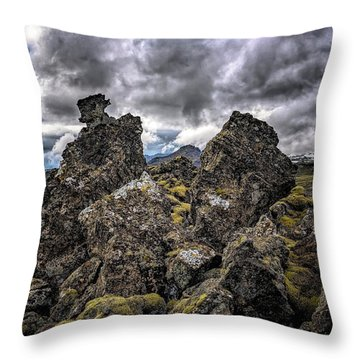 Lava Rock And Clouds Throw Pillow