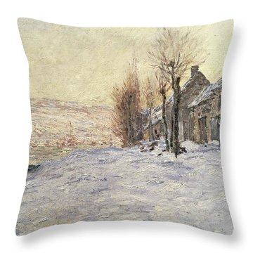 Lavacourt Under Snow Throw Pillow by Claude Monet