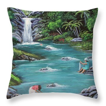 Lavando Ropa    Washing Clothes Throw Pillow by Luis F Rodriguez