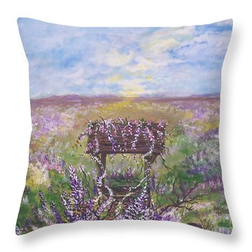 Throw Pillow featuring the painting Lavendar Wishes by Leslie Allen