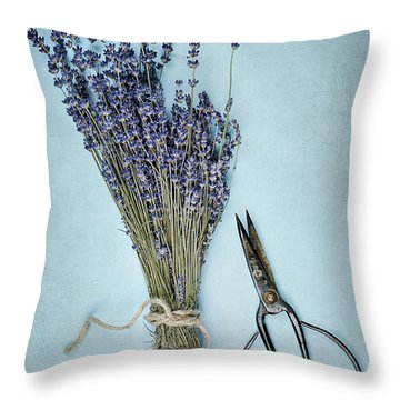 Throw Pillow featuring the photograph Lavender And Antique Scissors by Stephanie Frey