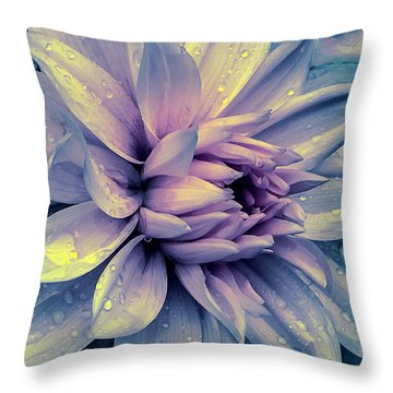Throw Pillow featuring the photograph Lavender And Pink Dahlia And Water Drops by Julie Palencia