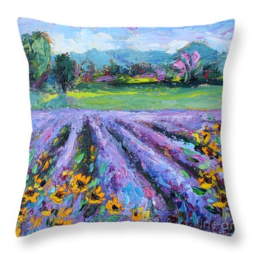 Throw Pillow featuring the painting Lavender And Sunflowers In Bloom by Jennifer Beaudet