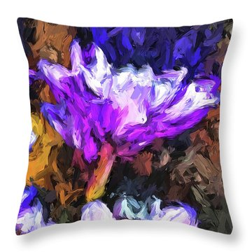 Lavender And White Flower With Reflection Throw Pillow