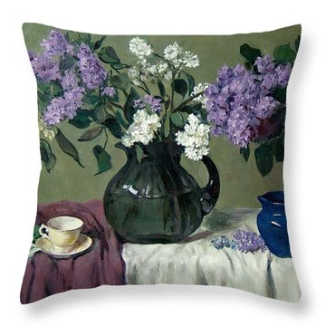 Lavender And White Lilacs With Blue Creamer And Teacup Throw Pillow