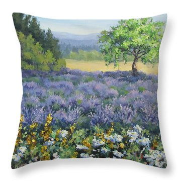 Lavender And Wildflowers Throw Pillow by Karen Ilari