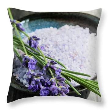 Throw Pillow featuring the photograph Lavender Bath Salts In Dish by Elena Elisseeva