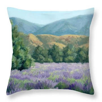 Lavender, Blue And Gold Throw Pillow by Sandy Fisher