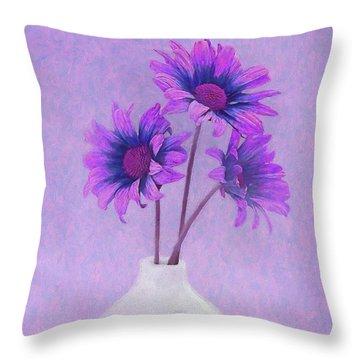 Lavender Chrysanthemum Still Life Throw Pillow