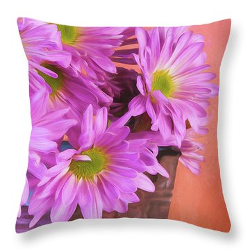 Lavender Daisies Throw Pillow