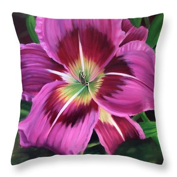 Lavender Daylily Throw Pillow