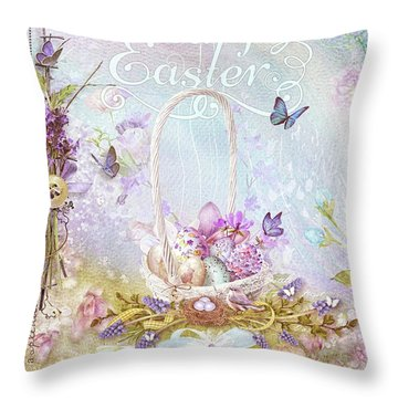 Lavender Easter Throw Pillow by Mo T