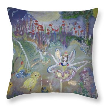 Lavender Fairies Throw Pillow by Judith Desrosiers