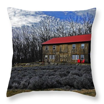 Lavender Farm Throw Pillow by Elsa Marie Santoro