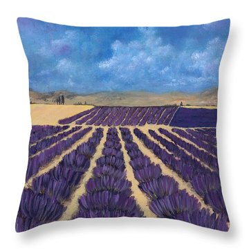 Throw Pillow featuring the painting Lavender Field by Anastasiya Malakhova