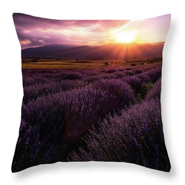 Lavender Field At Sunset Throw Pillow