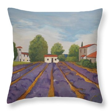 Throw Pillow featuring the painting Lavender Field by Betty-Anne McDonald