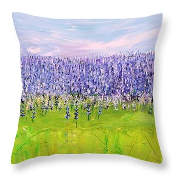 Throw Pillow featuring the painting Lavender Field by Evelina Popilian