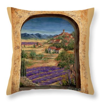 Lavender Fields And Village Of Provence Throw Pillow by Marilyn Dunlap