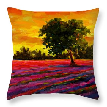 Throw Pillow featuring the painting Lavender Fire by Chris Brandley