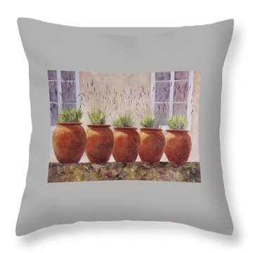 Lavender Garden Throw Pillow by Jill Musser