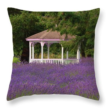 Lavender Gazebo Throw Pillow