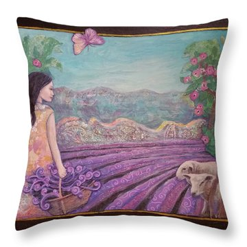 Lavender Harvest With Friends Throw Pillow