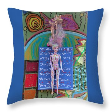 Throw Pillow featuring the painting Lavender Herbal Tincture by Clarity Artists