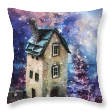 Lavender Hill Throw Pillow by Mo T