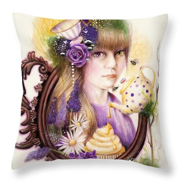 Throw Pillow featuring the drawing Lavender Honey by Sheena Pike