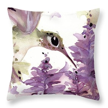 Throw Pillow featuring the painting Lavender Hummer by Dawn Derman
