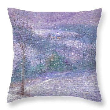 Throw Pillow featuring the painting Lavender Impressionist Snowscape by Judith Cheng