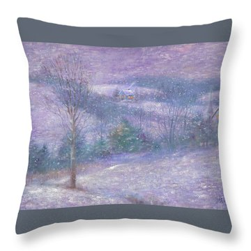 Lavender Impressionist Snowscape Throw Pillow