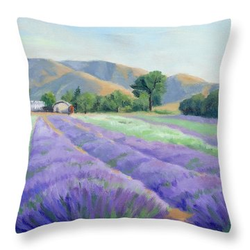 Lavender Lines Throw Pillow by Sandy Fisher