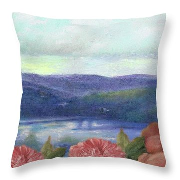 Lavender Morning With Roses Throw Pillow