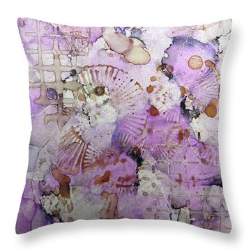 Throw Pillow featuring the painting Lavender Mornings Ink #6 by Sarajane Helm