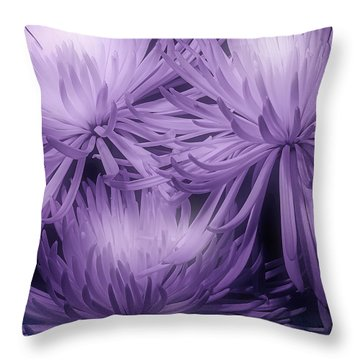 Lavender Mums Throw Pillow