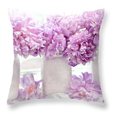 Lavender Peonies White Mason Jars - Romantic Shabby Chic Lavender Purple Peonies Mason Jars Throw Pillow
