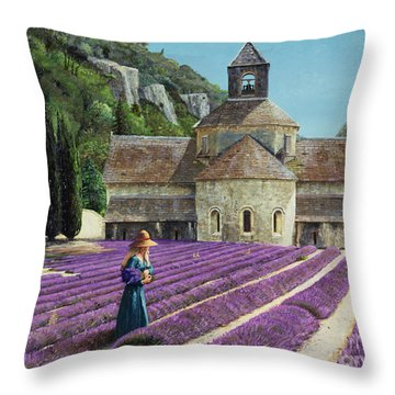 Lavender Picker - Abbaye Senanque - Provence Throw Pillow by Trevor Neal