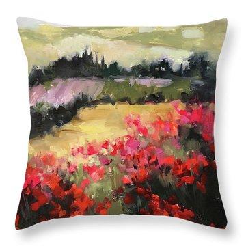 Lavender Rain Italian Poppy Fields Throw Pillow