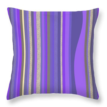 Throw Pillow featuring the digital art Lavender Random Stripe Abstract by Val Arie