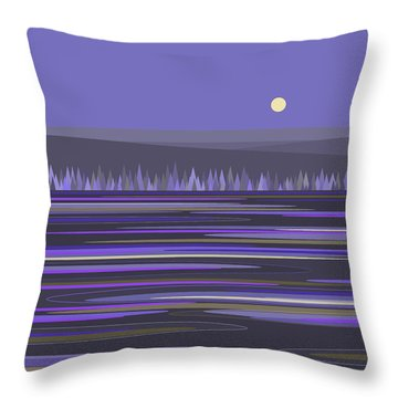 Throw Pillow featuring the digital art Lavender Reflections by Val Arie