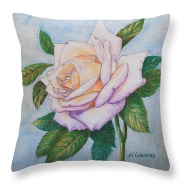 Lavender Rose Throw Pillow by Marna Edwards Flavell