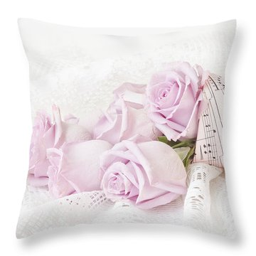 Lavender Roses And Music Throw Pillow by Sandra Foster