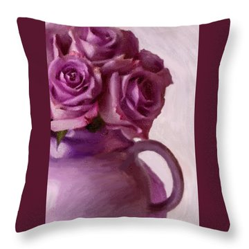 Lavender Roses And Tea Pot Throw Pillow by Sandra Foster