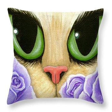 Lavender Roses Cat - Green Eyes Throw Pillow
