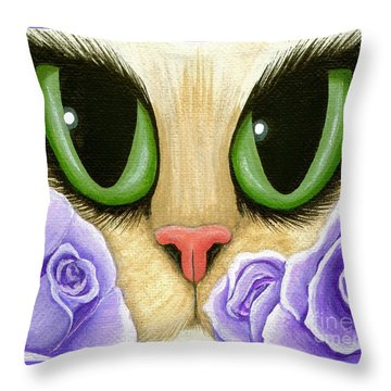 Throw Pillow featuring the painting Lavender Roses Cat - Green Eyes by Carrie Hawks