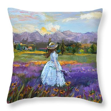 Throw Pillow featuring the painting Lavender Splendor  by Jennifer Beaudet